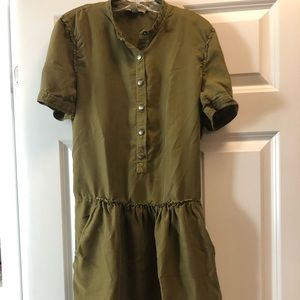 Burberry Olive casual silk Dress, size US 4